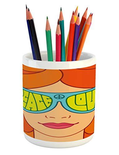 Ambesonne 70s Party Pencil Pen Holder, Red Haired Girl with Sunglasses Retro Typography Hippie with Love and Peace Print, Ceramic Pencil Pen Holder for Desk Office Accessory, 3.6' X 3.2', Orange