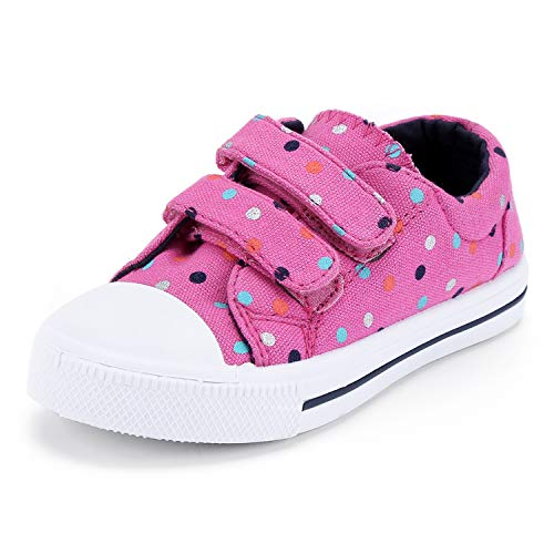 K KomForme Toddler Sneakers for Boys and Girls Cartoon Dual Hook and Loops Sneakers Baby Canvas Shoes Pink