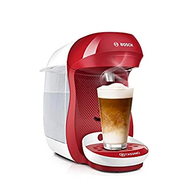 Tassimo Happy Tassimo Tas1006 Coffee Machine by Bosch, Over 70 Drinks, Fully Automatic, Suitable for All Cups, Space Saving, 1400 Watt, Red/White