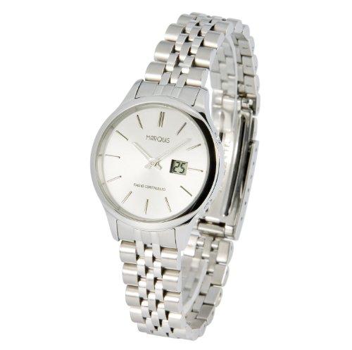 Elegante MARQUIS Damen Funkuhr (Junghans-Uhrwerk) Gehäuse und Armband aus Edelstahl 964.4706
