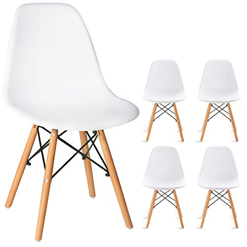 Waleaf Set of 4 Modern Eames Style Dining Chair Mid-Century DSW Side Chair with Natural Wood Legs, Shell Lounge Plastic Armless Chair for Kitchen, Bedroom, Living and Dining Room(PP Seat, White)