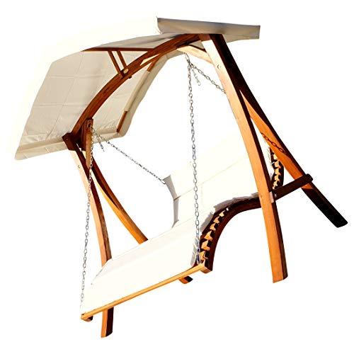 Design Hollywoodschaukel Schwebeliege Doppelliege aus Holz Lärche mit Dach