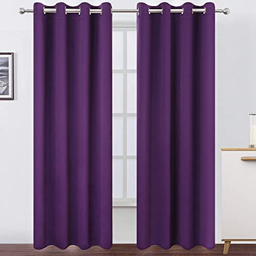 LEMOMO Purple Blackout Curtains 52 x 84 Inch Length/Set of 2 Curtain Panels/Thermal Insulated Room Darkening Curtains for Bedroom