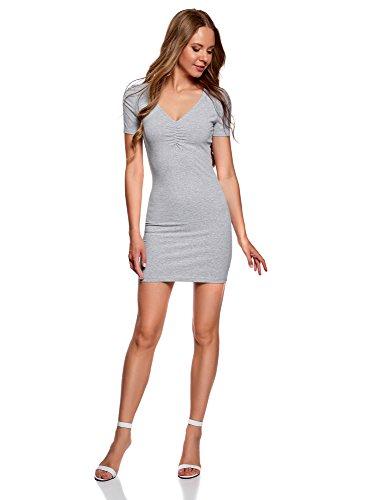 oodji Ultra Damen Enges Kleid mit V-Ausschnitt, Grau, DE 34 / EU 36 / XS