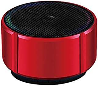 Nrpfell Speaker Portable Speaker Fashion Metal Stereo Bass Subwoofer Handsfree with Mic for Home Music(Red)