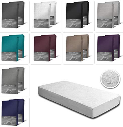 one-home 2er Pack Frottee Spannbettlaken Spannbetttuch 90x200 140x200 180x200 Baumwolle, Farbe:Weiß, Maße:90x200 cm - 100x200 cm