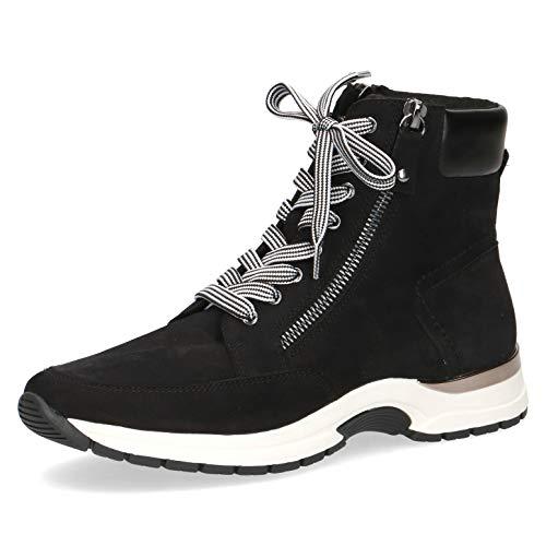 CAPRICE Damen Stiefel, Frauen Schnürstiefel,lose Einlage, Boots kurz-Stiefel high top Sneaker Sportschuhe schnürung Lady,Black NUBUC,37 EU / 4 UK