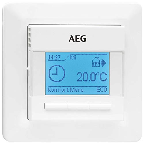 AEG RTD 903 TC 236721 - Termostato electrónico (Programa semanal, navegación Sencilla por menú, Pantalla táctil a Color, Sensor de Temperatura Ambiente Integrado, Empotrado)