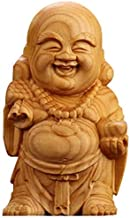 Chinese Feng Shui Decor Q Type Laughing Buddha Statues Yellow Poplar Wood for Home and Office Good Luck Attract Wealth Gifts
