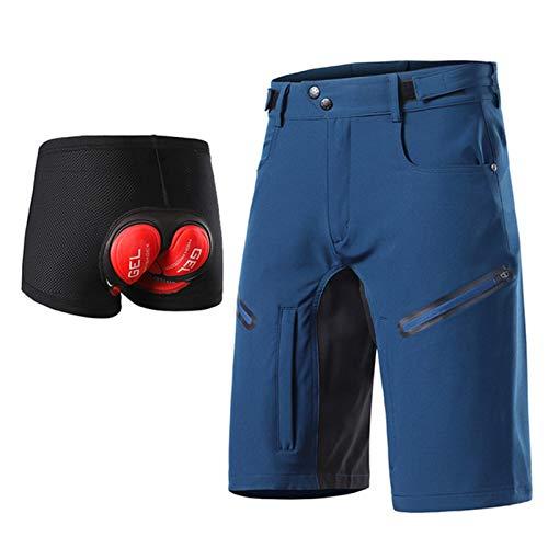 Pantalones de Ciclismo para Hombre Pantalones Cortos de Descenso MTB Ligeros y Finos Gel Acolchada en 3D Pantalones Cortos de Bici Transpirables Impermeables de Secado Rápido,Azul,M