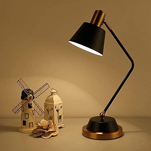 Lámpara Escritorio Lámpara de mesa blanca y negra, dormitorio, mesita de noche, simple, moderno, europeo, nórdico, creativo, romántico, lectura, hotel, ingeniería, lámpara de mesa ( Color : Black )