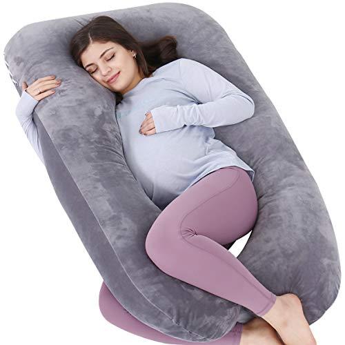 AS AWESLING Almohada de embarazo, almohada de cuerpo completo en forma de U, almohada de lactancia, apoyo y maternidad para mujeres embarazadas con funda de terciopelo extraíble (gris)