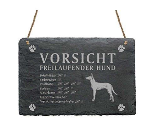 Schiefertafel « PODENCO - VORSICHT FREILAUFENDER HUND » ca.22 x 16 cm - Schild mit Hund