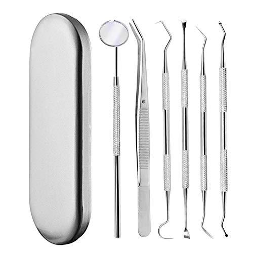 Zahnreinigung Set, OUZIGRT 6 Stück Zahnpflege Set, 1x Mundspiegel, 1x Pinzette, 4x Verschiedene Arten von Zahnreinigung Werkzeugen-Edelstahl (Schwarz)