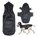 POPETPOP Chubasquero con capucha para perros de tamaño mediano y grande, con orificio para arnés, bolsillos, chaqueta impermeable (negro, 4XL)