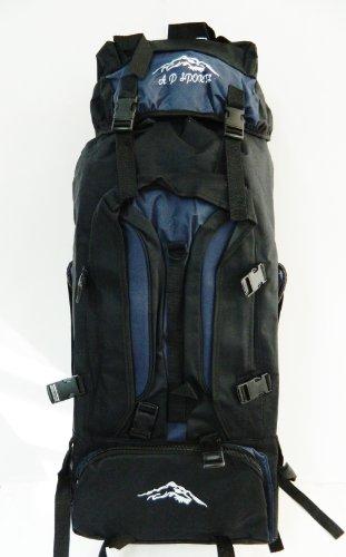grand sac à dos Randonnée camping voyage bleu et noir 70x30x24cm voyage