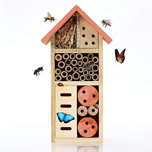 Nature's Buddy Insektenhotel - 13x8,5x26 cm Umweltfreundliches Insektenhaus für Schmetterlinge Marienkäfer im Garten - Kinderfreundliches Witterungsbeständiges Bienenhotel Naturholz mit Metalldach