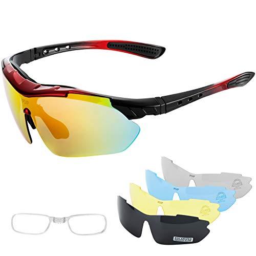 IPSXP Gafas de Sol Deportivas polarizadas 5 Lentes Intercambiables, Gafas de Ciclismo para Hombres y Mujeres, Carrera de béisbol, Escalada, Golf (Rojo y Negro)