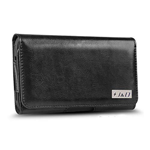 JD Compatible para LG G6 Plus Funda, Carcasa de Cuero PU Caso de la Bolsa con Clip de Correa, Estuche de Cuero de la Carpeta de ID para LG G6 Plus - para Caso Pesado - Negro