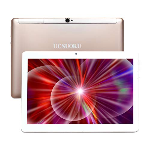 UCSUOKU 10 inch Tablet Android 10.0,Deca-Core Processor, 4GB RAM, 64GB ROM,4G LTE Phablet 10.1 Tablets PC, Dual SIM 3G Phone Call, Bluetooth/WiFi/GPS/OTG,Google Certified,USB Type C Port(Gold)