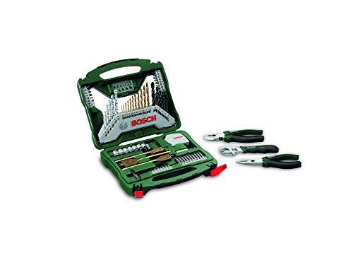 Bosch 2607017197 Universal X-Line Titanium Drill and Bit Set - Green/Grey (70-Piece)