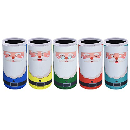 Bluecell Pack of 5 Neoprene 12oz Slim Can Insulators Christmas Santa Can Sleeves Fit for 12oz Slim Drink Beer Cans (Santa(5pcs))