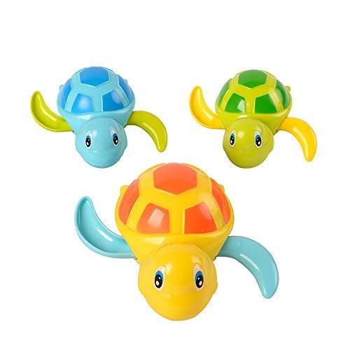 kuaetily Baby-Bad-Spielzeug Schildkröte, Spielzeugschildkröte mit Uhrwerk für Kinder Spielzeug im Wasser Schwimmen und beim Baden Spielen, 3 Stücke