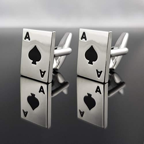 Herren Manschettenknöpfe Spielkarte Pik-As schwarz mit Geschenkbox - SILBER - Edelstahl - hochwertig stilvoll Klassiker Poker Pokerkarte Kartenspiel Casino - deutscher Händler - MIND CARE ESSENTIALS