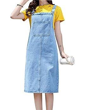 AMEBELLE Women s Casual Straps A-line Pinafore Midi Bib Skirt Denim Overall Dress  0089-LightBlue-XL