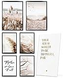 Heimlich Cuadros Decorativos - SIN Marcos -Decoración Colgante para Paredes de Sala, Dormitorios y Cocina - Arte Mural - 2 x A3 & 4 x A4-30x42 & 21x30 | » Mindful Beige Beach «