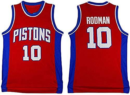 WHYYT Detroit Pistons NBA Jerseys - Detroit Pistons # 10 Jersey de Baloncesto de Dennis Rodman para Hombres, Chaleco sin Mangas Transpirable Bordado,XL(180~185CM/85~95KG)