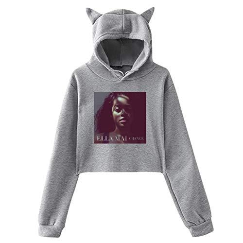 Lawenp Sudadera con Capucha con Orejas de Gato Ella MAI Sweater Black