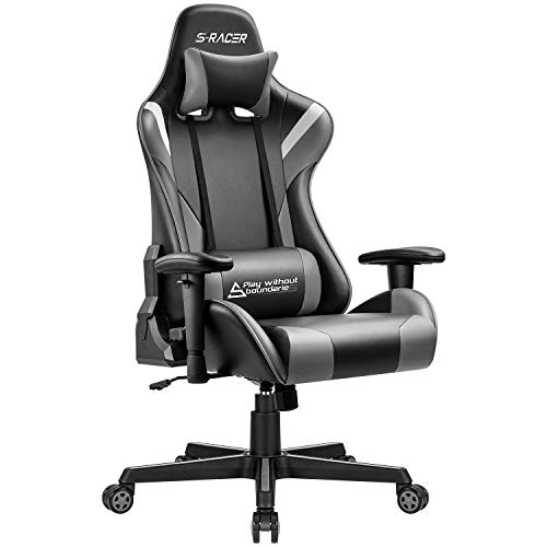 Homall Gaming Chair Office Racing Ergonomic Chair PC Computer Game Chair Adjustable Armrest High Back Executive Chair Bucket Seat Desk Chair Recliner Swivel Rocker with Headrest and Lumbar Pillow Gray chair E-WIN gaming