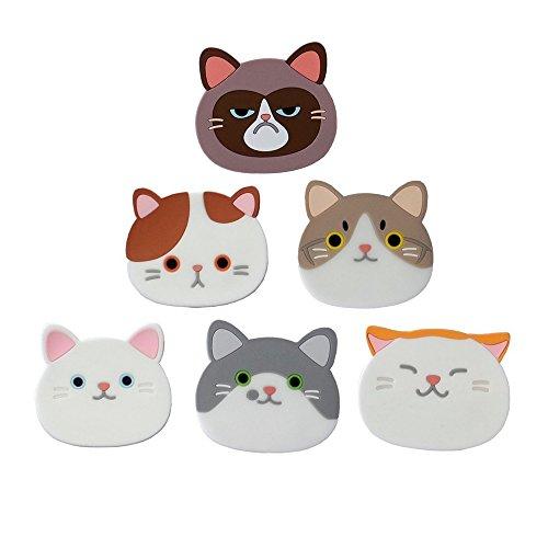 6 Stück Katze Untersetzer, Nette Katzen Schalen Matten Silikon Gummi Untersetzer für Wein, Glas, Tee
