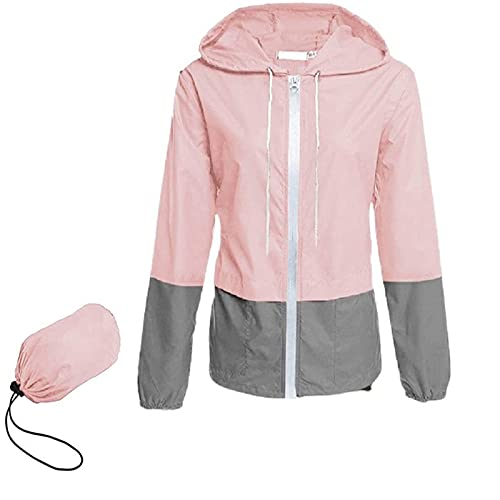 NaRHbrg Raincoat Hoodie for Women Waterproof Windbreaker Lightweight Rain Jackets Packable Long Sleeve Coat for Teen Girls Pink