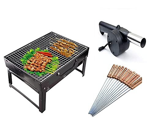 HALTYWER Folding Portable Outdoor Barbeque Charcoal BBQ Grill Oven with 10PC Stainless Steel Stick, Wooden Stick, Silicon Brush (BBQ,Wooden & Big 12-Stick, Silicon Brush)
