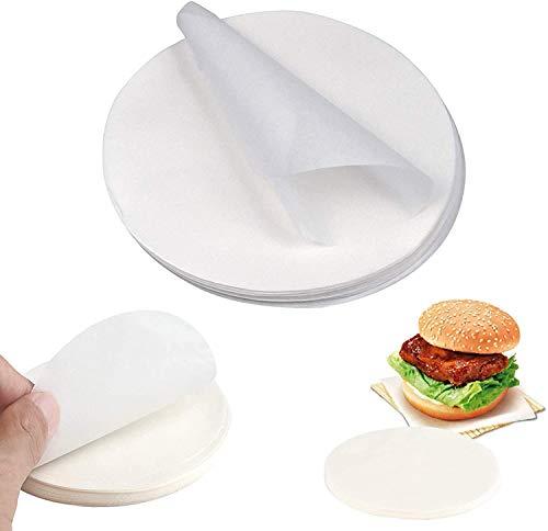 Jieddey Backpapier,100 Stück Rundes Backpapier Pergamentkreise Antihaft Dim Sum Papier Pergamentpapier zum Trennen von Burger Patty Pizzablech Kuchenofen Mikrowelle 9 Zoll Weiß