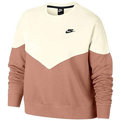 Nike W NSW HRTG Crew FLC Plus, T-Shirt Donna, Rose Gold/Sail/Black, 58/60