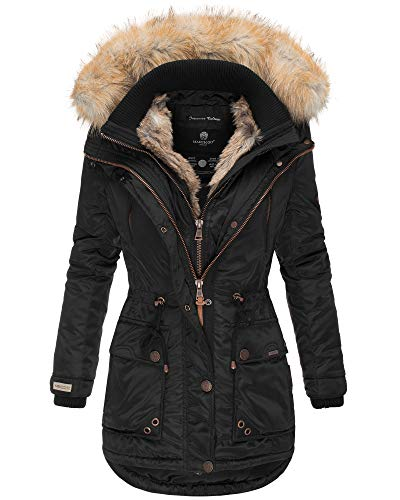 Marikoo Damen Winter Jacke Herbst Stepp Kurz Parka warm gefüttert Grinsekatze 7 Farben XS - XXL (XS, Schwarz)