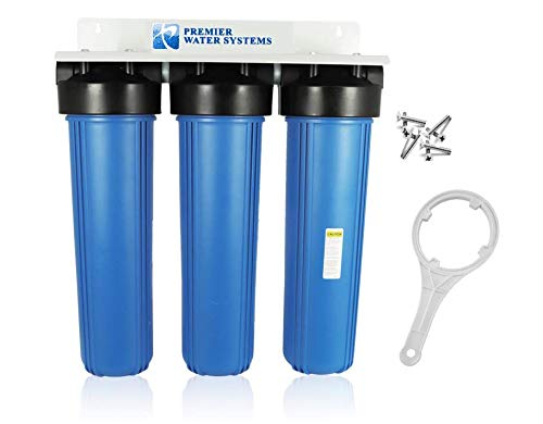 3-Stage 20' Whole House Big Housings Blue Color Filtration System 1' with BRACKET + WRENCH