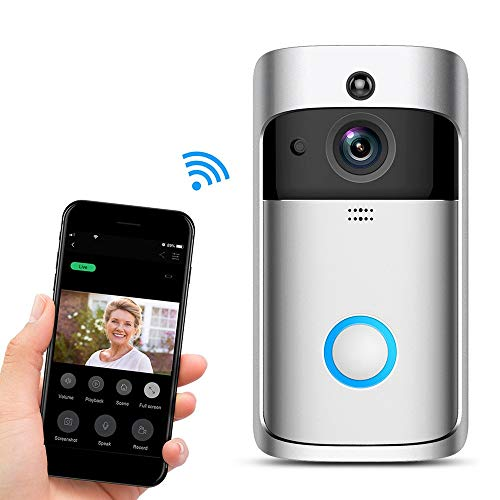 YLXD Video Doorbell, Inalámbrico Videoportero 720P HD con Audio bidireccional detección de Movimiento y conexión wi-fi Burglar Reminder App for iOS/Android/Windows Plata
