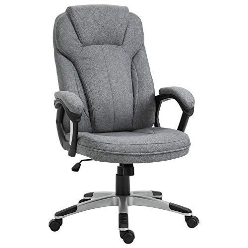 Vinsetto Linen Padded Ergonomic Office Chair w/Swivel Adjustable Seat High Back Armrests Headrest Stylish Work Seat Rocking Grey