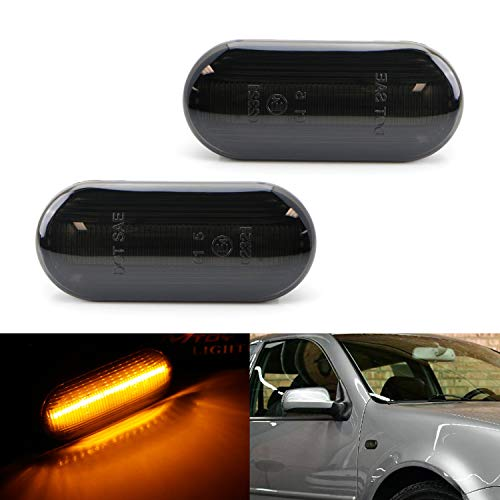 iJDMTOY Smoked Lens Amber Full LED Front Side Marker Light Kit Compatible with Volkswagen MK4 Jetta GTI R32 Beetle etc, Powered by 15-SMD LED, Replace OEM Sidemarker Lamps