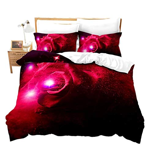 Loussiesd Galaxy Rose Duvet Cover Set King for Girls Women 3D Red Rose Print Bedding Set Flower Comforter Cover Vivid Floral Bedspread Cover Botanical Microfiber Quilt Cover with 2 Pillow Shams