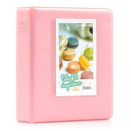 Amimy 64 Pockets álbum de Fotos para Fujifilm Instax Mini 7s 8 8+ 9 25 50 70 90, Polaroid Snap PIC-300, HP Piñón, Kodak Mini 3 Pulgadas de película con Pegatinas de Colores (64 Bolsillos, Rosa III)