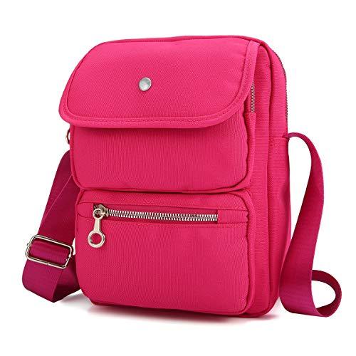 Bolso Crossbody para Mujeres,JOSEKO Bolso de Hombro de Nylon con múltiples Bolsillos Bolso Bolsa de Pasaporte de Viaje Bolsa Messenger Bag