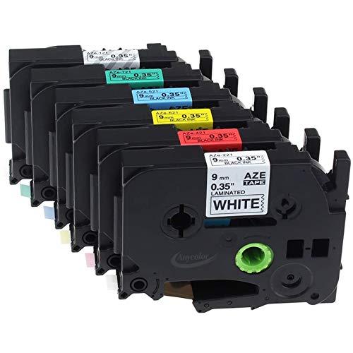 Anycolor kompatible Schriftband als Ersatz für Brother P-touch TZe-121 TZe-221 TZe-421 TZe-521 TZe-621 TZe-721 schwarz auf transparent/weiß/rot/blau/gelb/grün laminiertes band 9mm x 8m, 6er-Pack