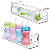 mDesign Juego de 2 cestas organizadoras para artículos de bebé – Caja para bebé con prácticas asas, sin tapa – Espacioso contenedor de plástico sin BPA para juguetes, pañales y más – transparente