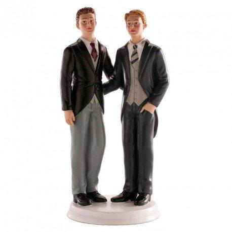 Dekora - Decoracion Tartas de Boda - Figuras de Novios 2 Chicos 20 cm