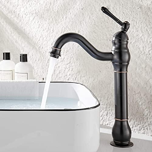 kisimixer Wasserhahn Bad Schwarz Hoch Wasserhahn füRs Bad KöNnen 360°Schwenkbar Einhebel Waschbecken Armatur,Waschtischarmaturen Retro Mischbatterie,Messing Antik